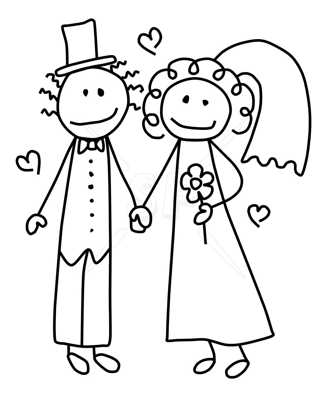 bride and groom clipart color