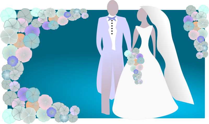bride and groom clipart purple