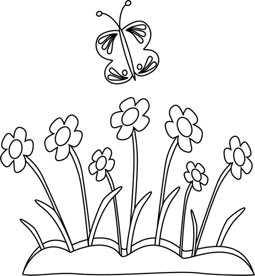 free black and white clipart spring