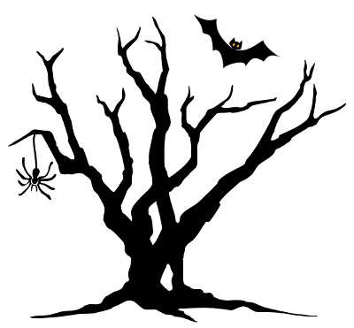 Haunted clipart halloween tree.