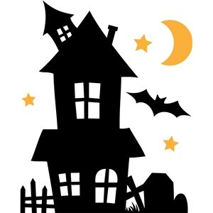 haunted house clipart silhouette