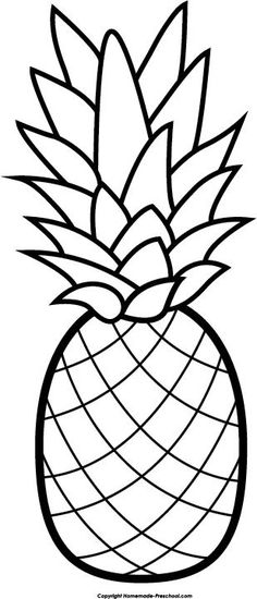 pineapple clipart black and white easy