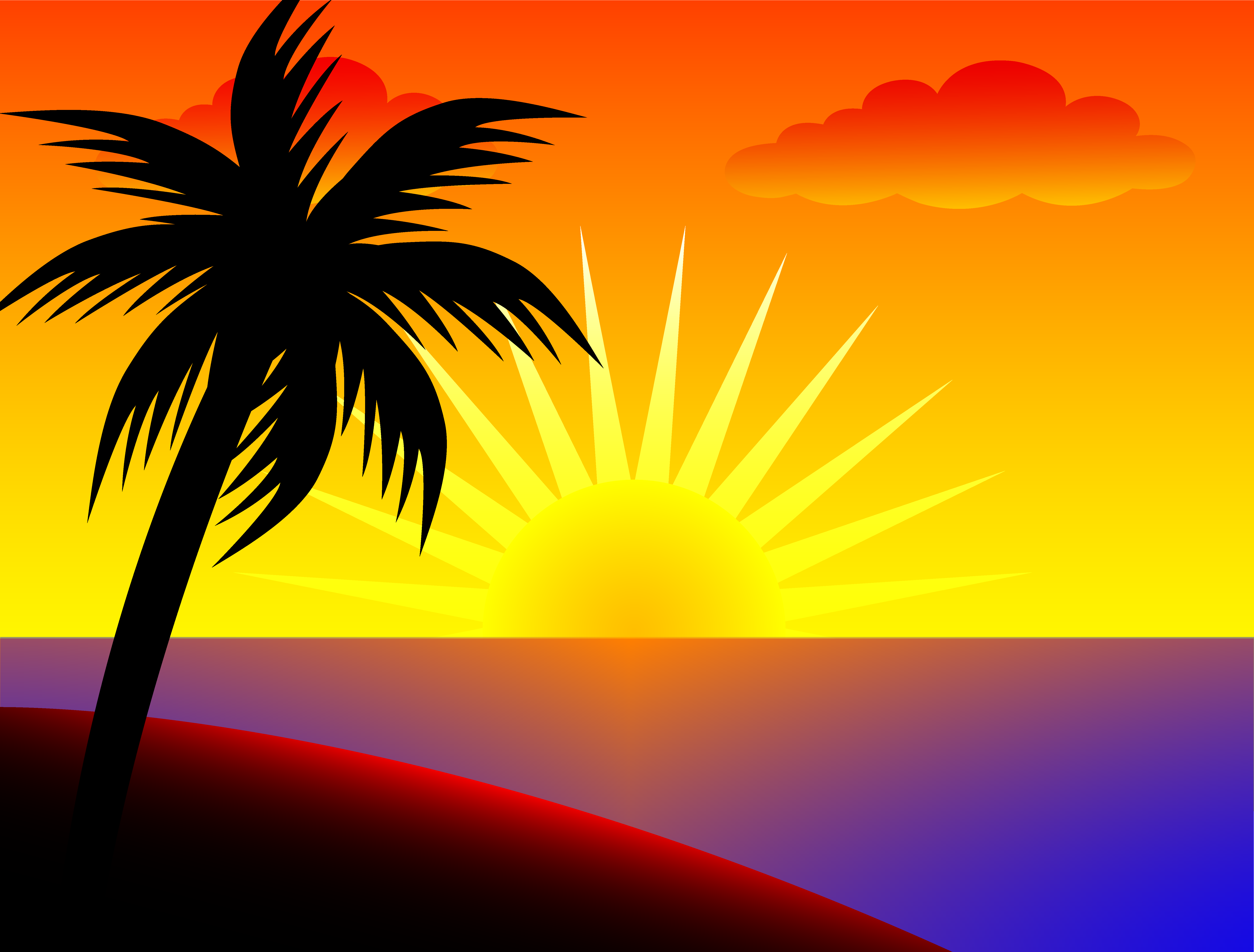 palm trees clipart sunset