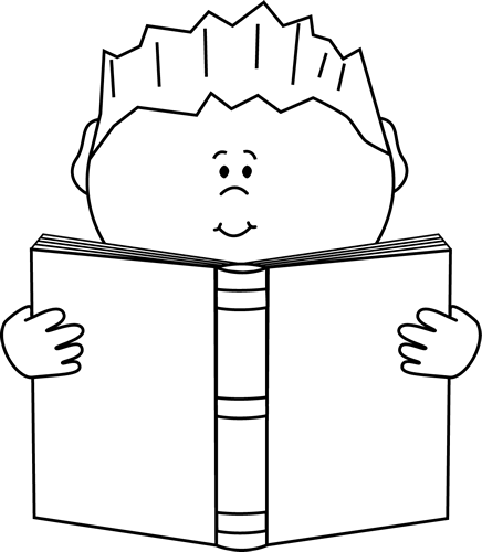 kids clipart black and white reading