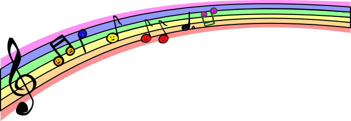 musical note clipart rainbow