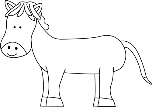 horse clipart black and white outline
