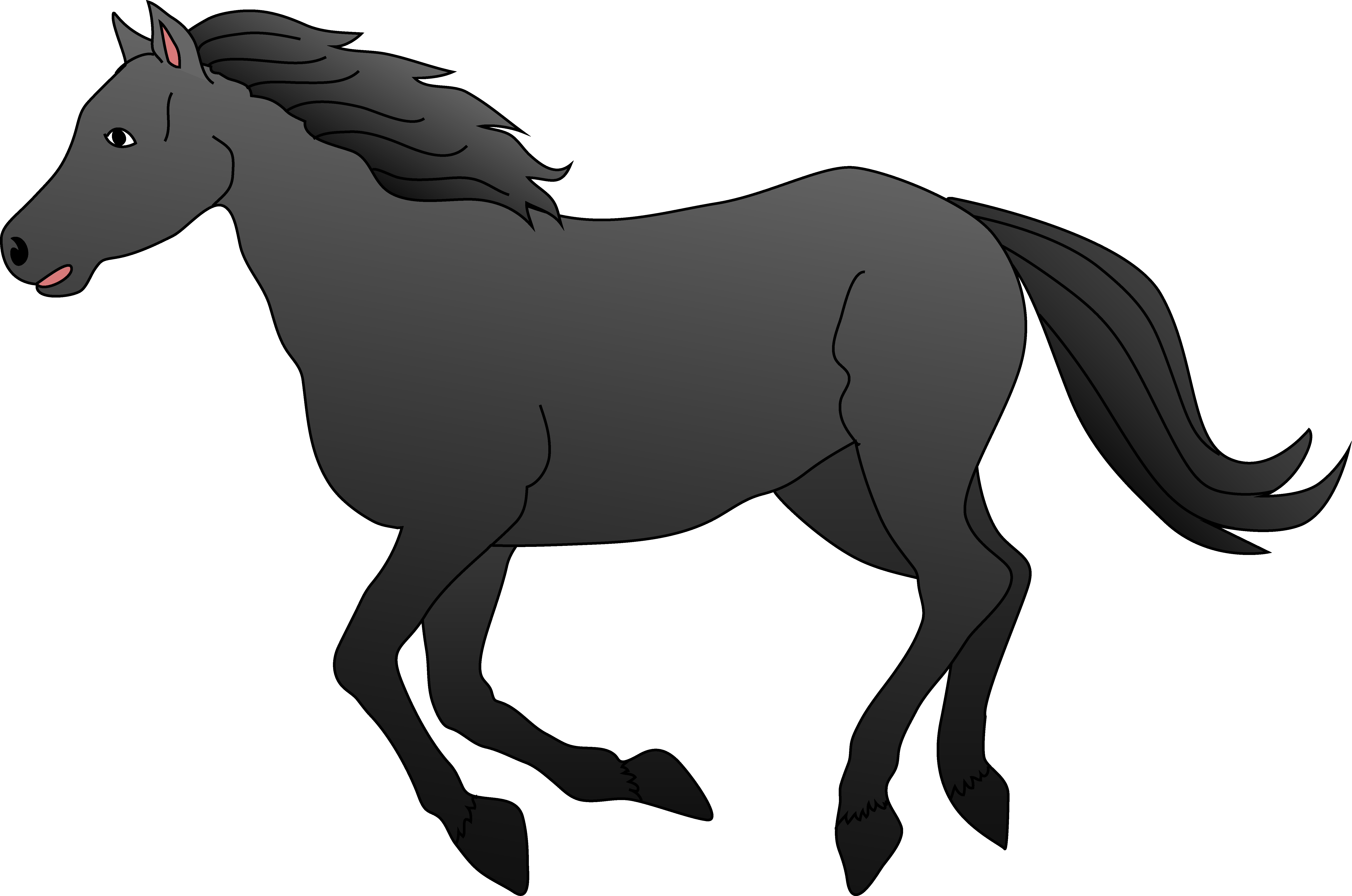 horse clipart black and white galloping