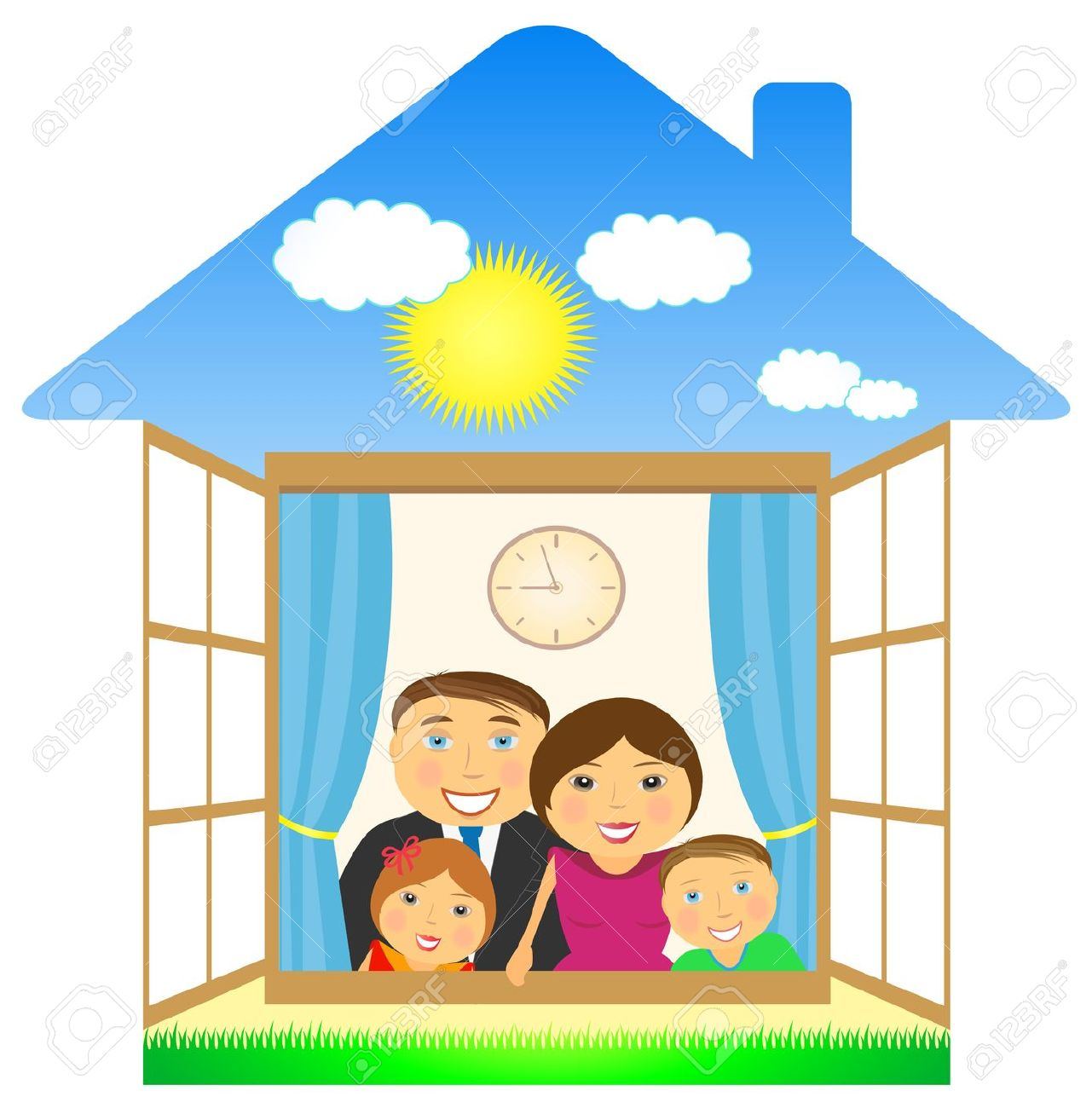 clipart home family