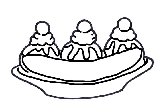 creme clipart banana split