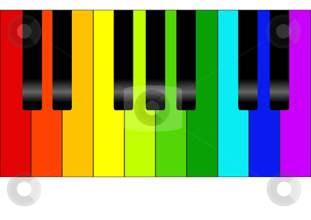 piano clipart colorful