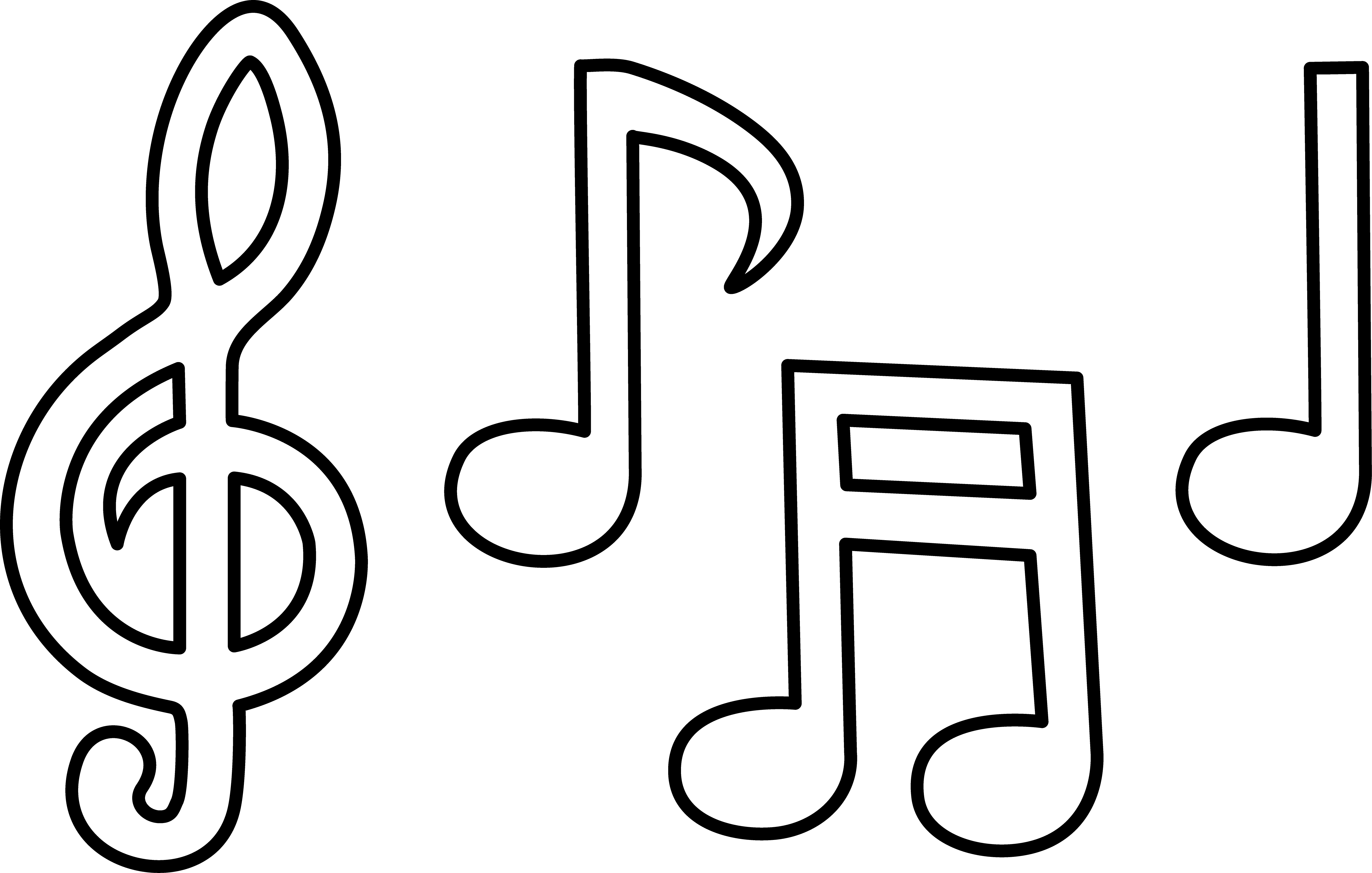 musical note clipart white