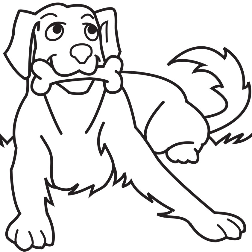 Dog clipart coloring page.