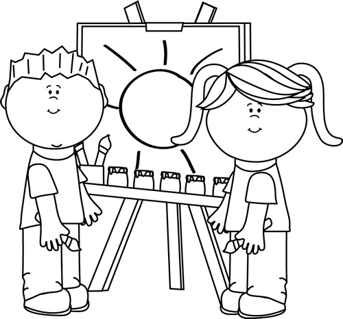 kids clipart black and white coloring