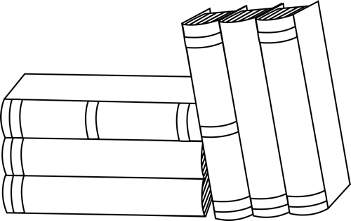 books clipart black and white stacked