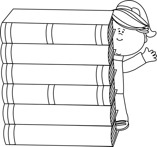 books clipart black and white library