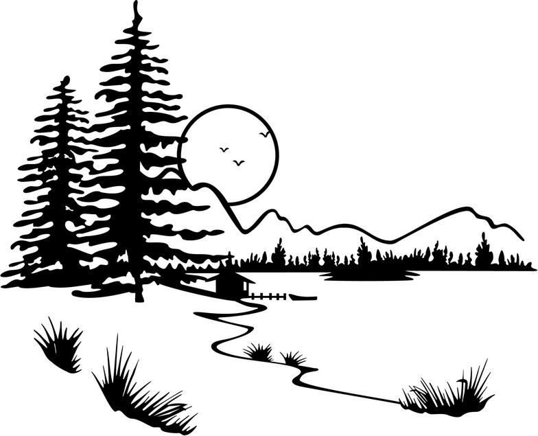 landscaping clipart black and white