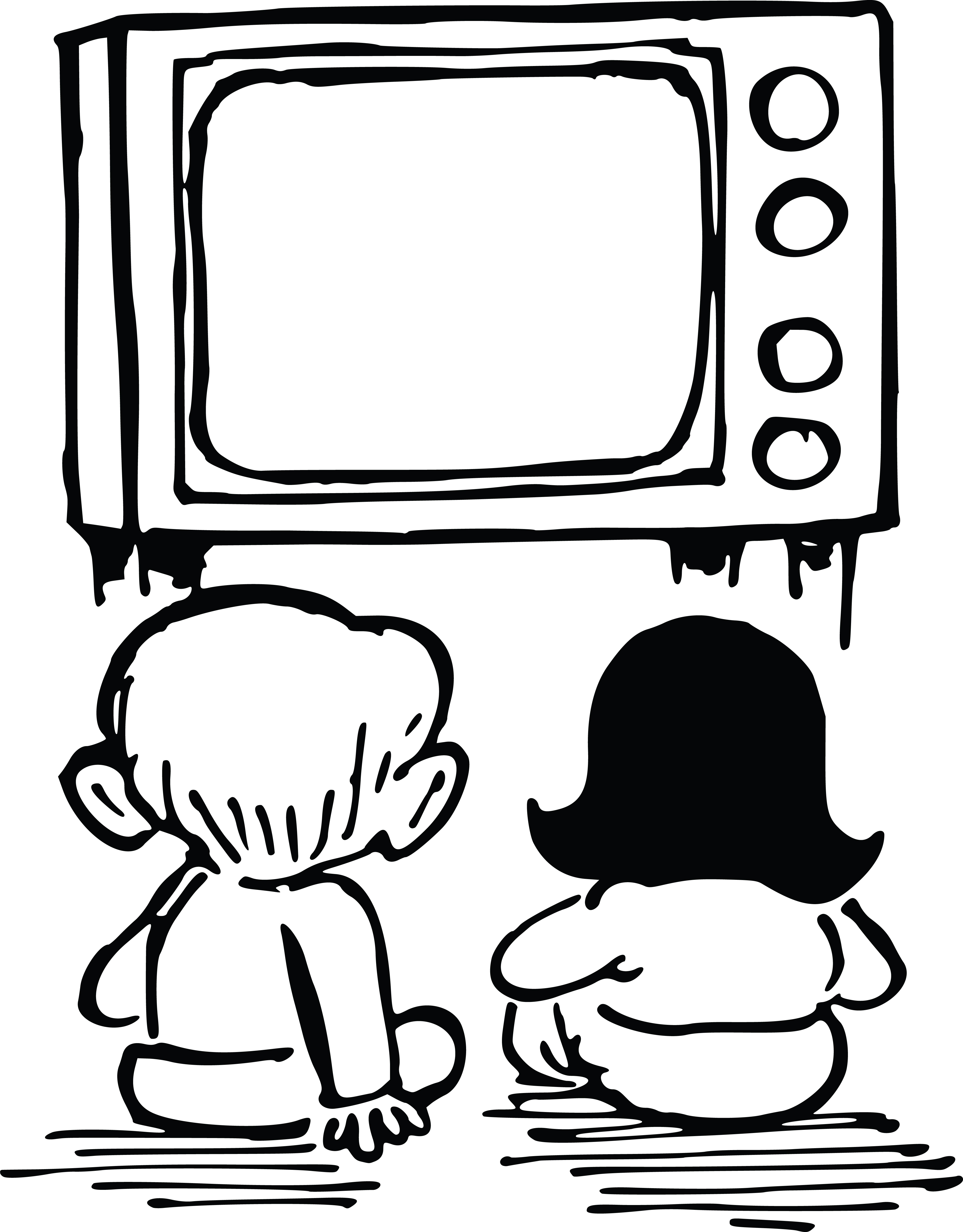 watch tv clipart silhouette