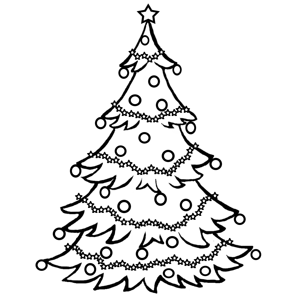 christmas tree clipart black and white swirly