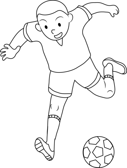 boy clipart black and white soccer