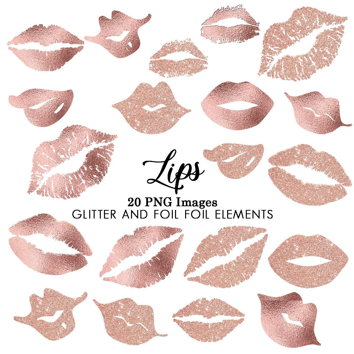 lip clipart rose gold