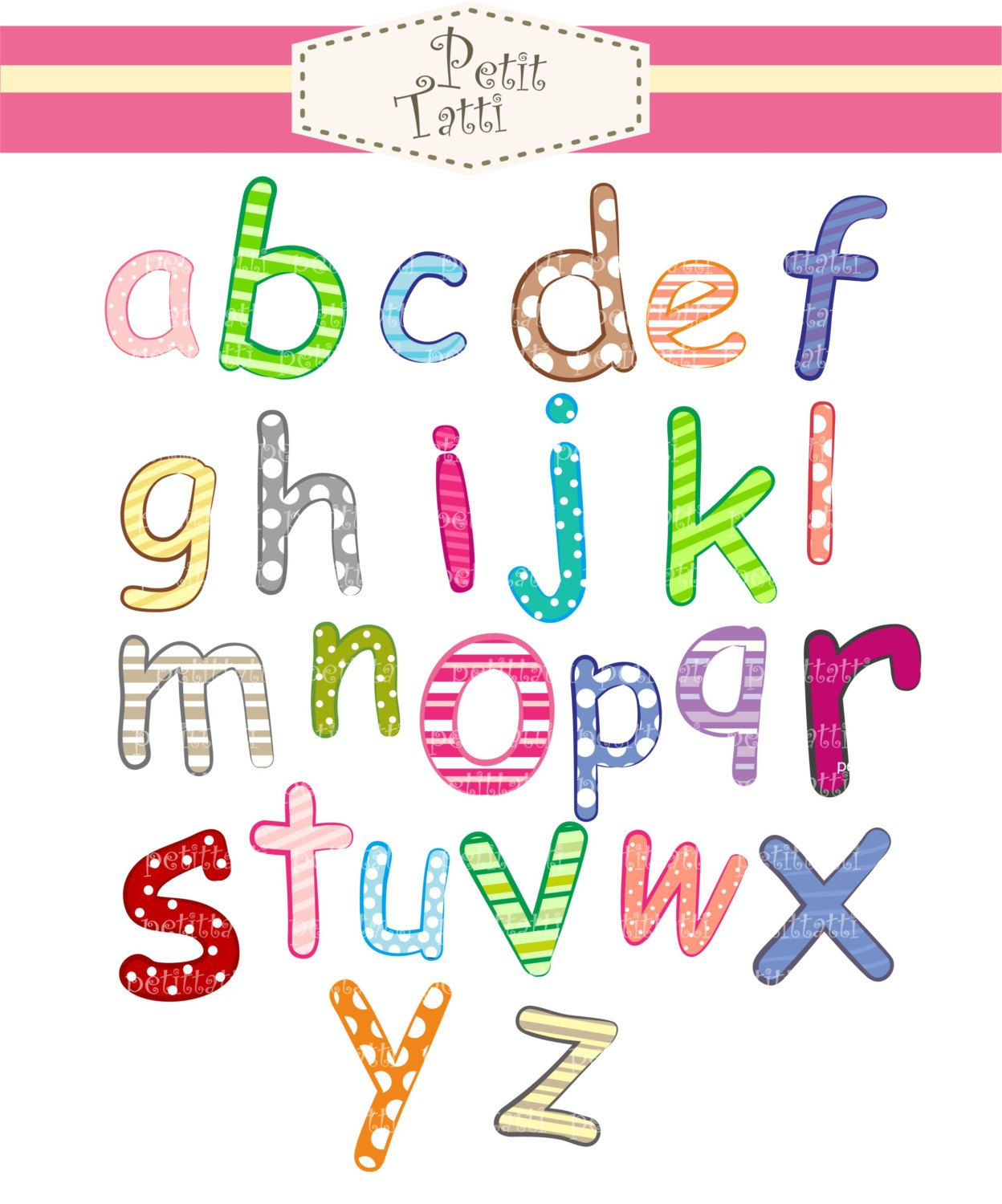 Alphabet clipart a to z.