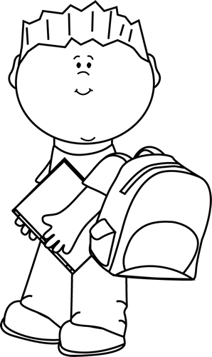 boy clipart black and white kid