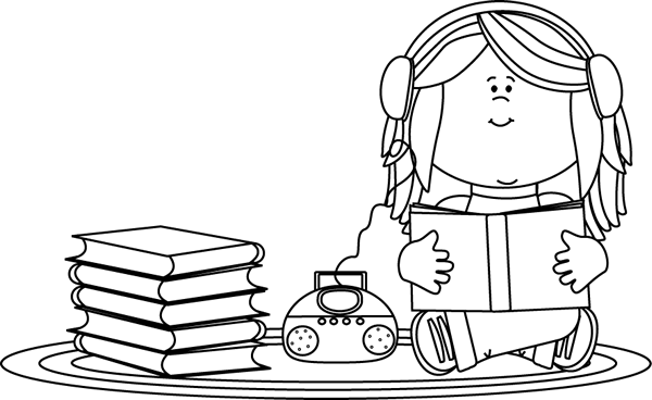 books clipart black and white reading