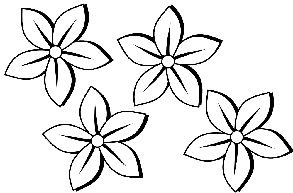 flower black and white clipart
