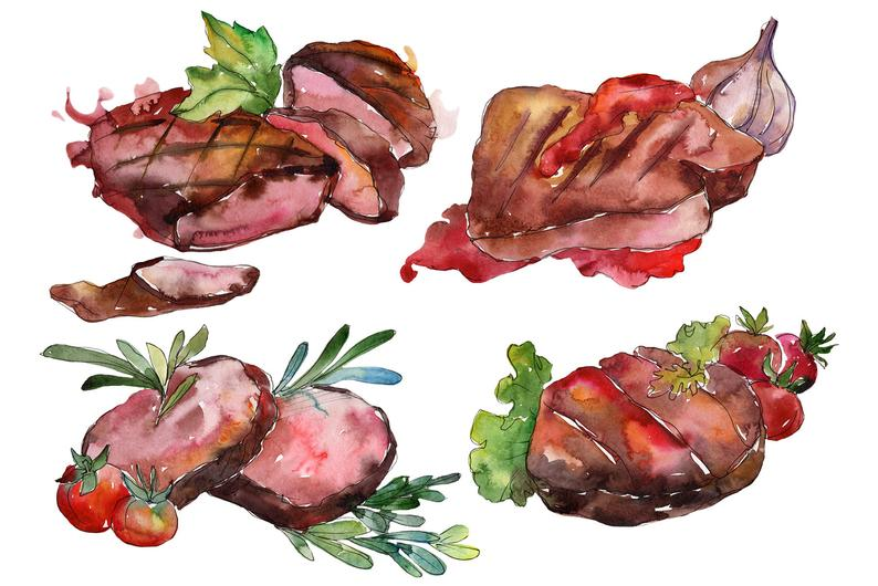 Meat clipart watercolor.
