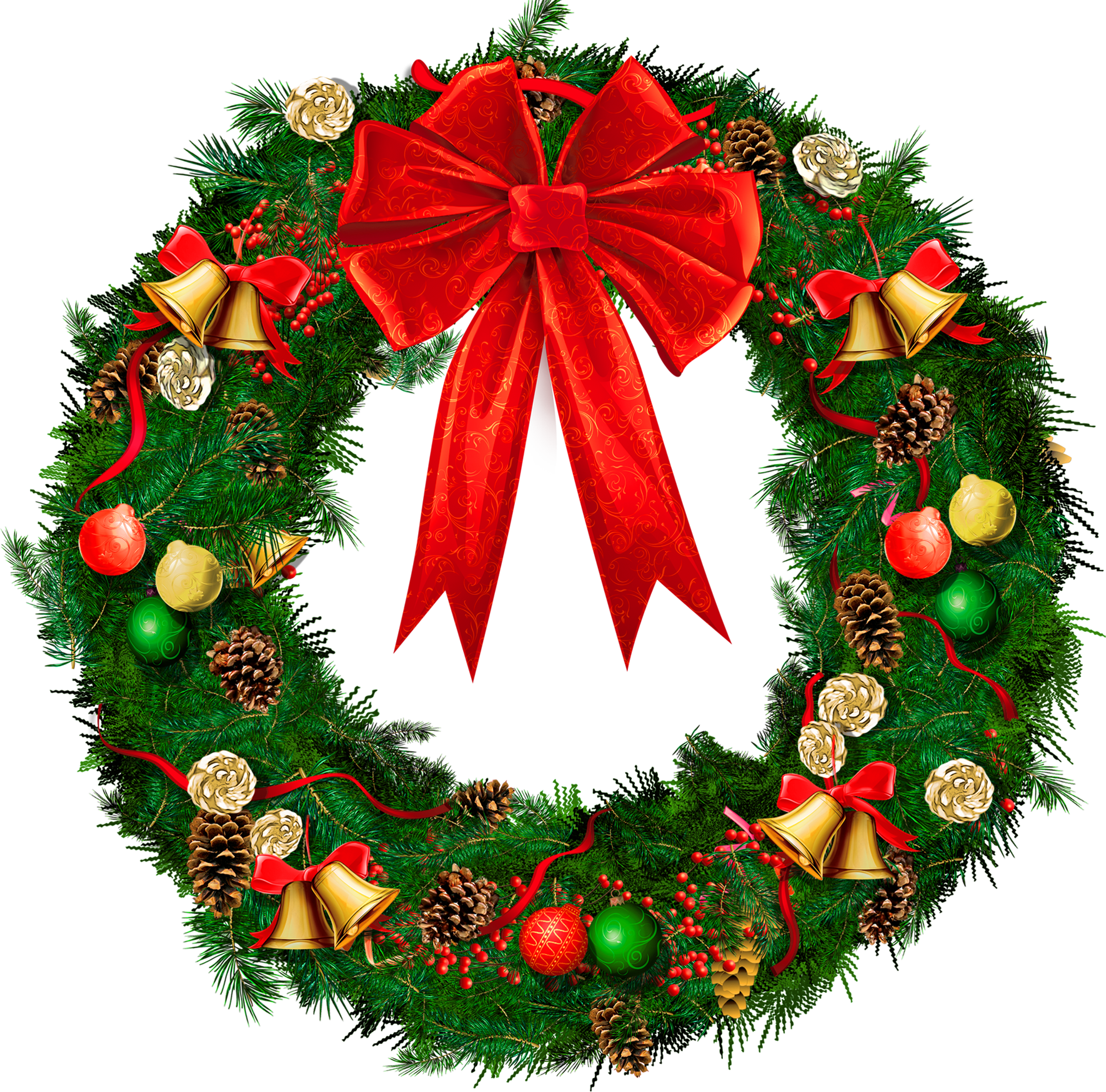 christmas wreath clipart red