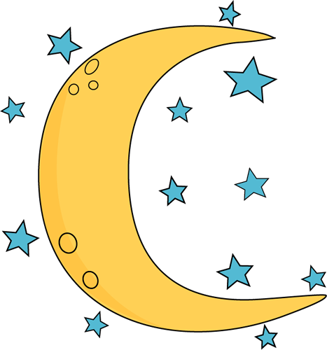 moon and stars clipart hanging