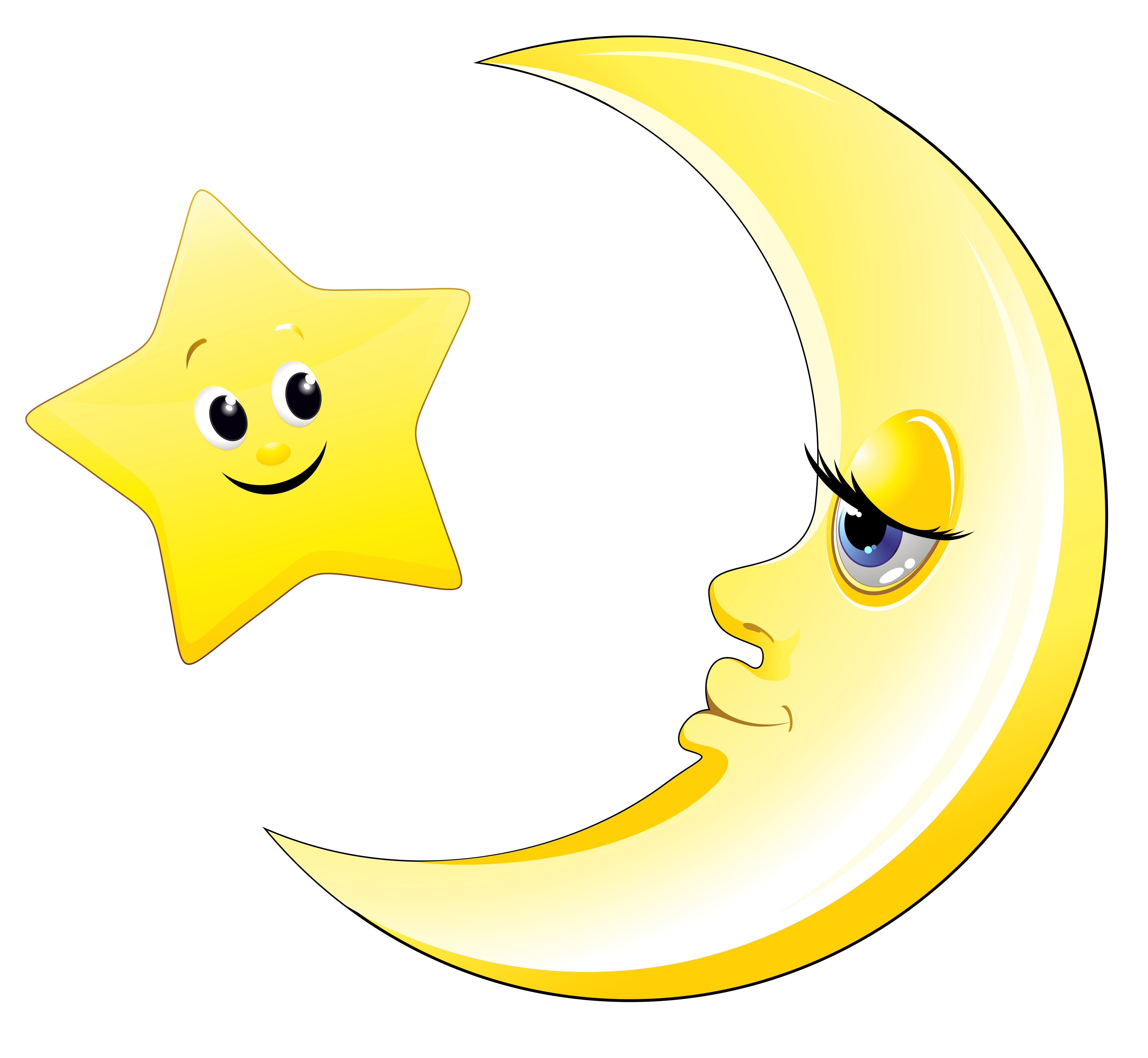 moon and stars clipart cute