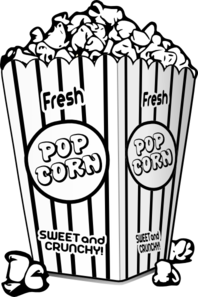 popcorn clipart black and white cute