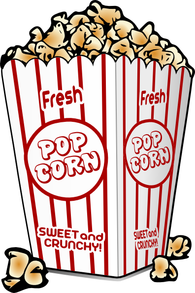 popcorn clipart black and white cartoon