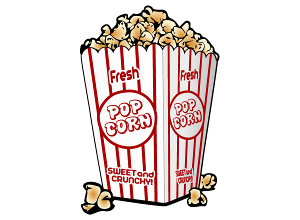 popcorn clipart black and white vector