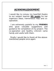 my project acknowledgement