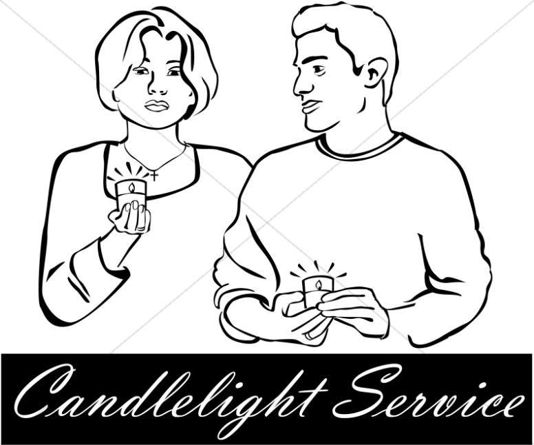 Nativity clipart candlelight service.