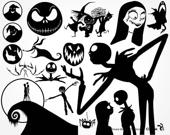 nightmare before christmas clipart stencil