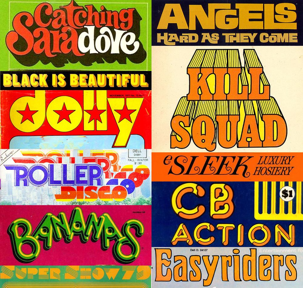 November clipart 70s typography.