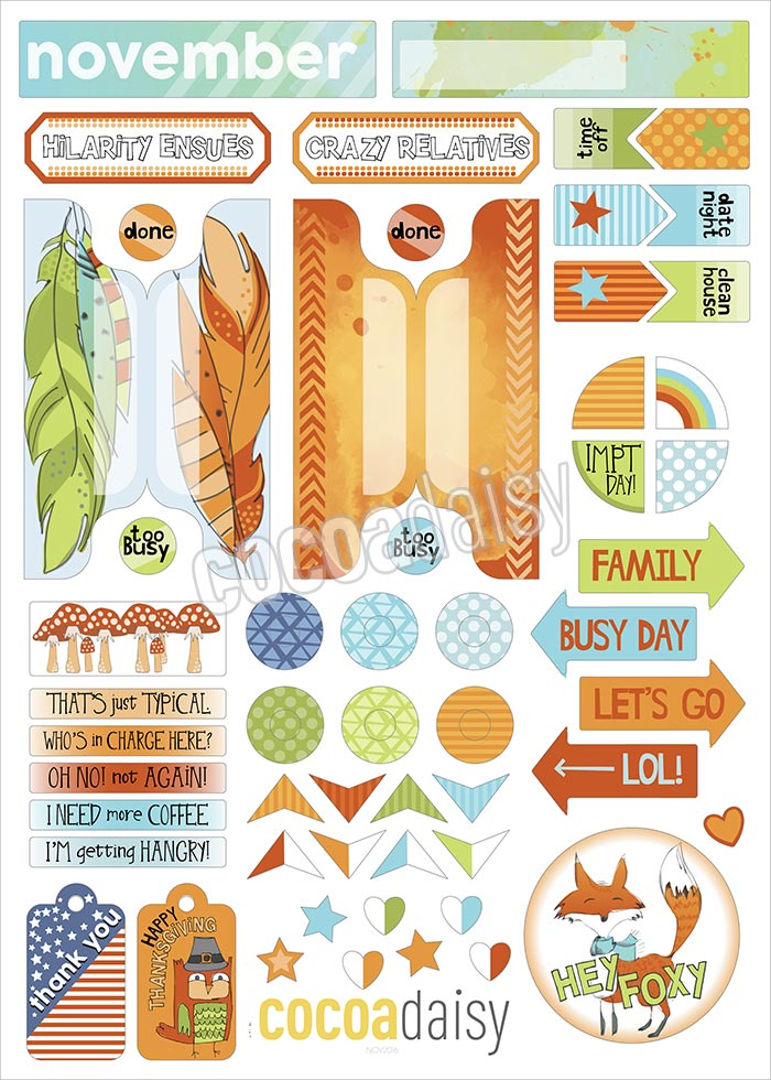 November clipart planner stickers.