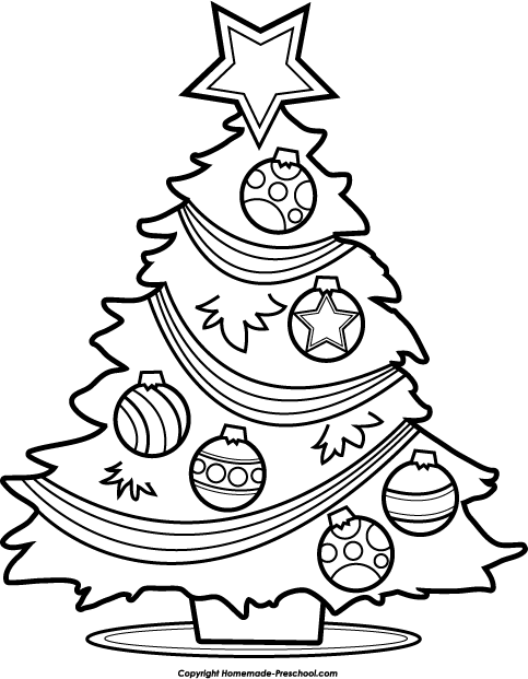 christmas tree clipart black and white cute