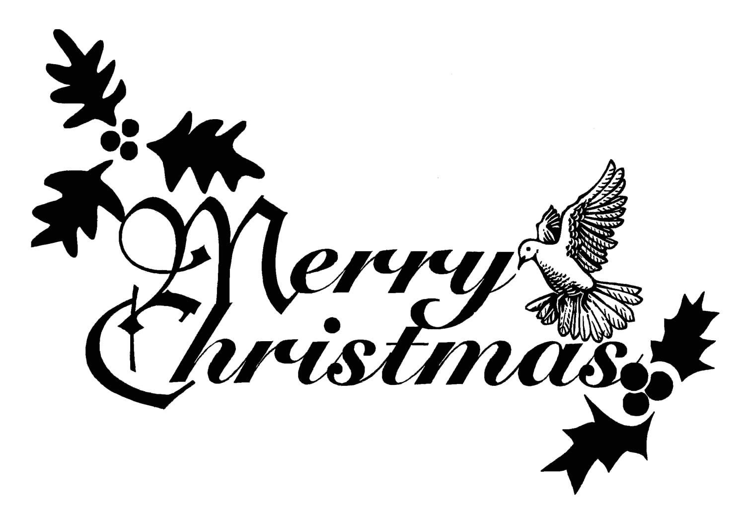 christmas clipart black and white merry
