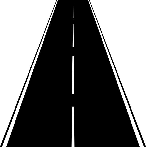 clipart road black and white