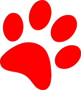 paw print clipart red