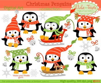 Clipart christmas penguin.