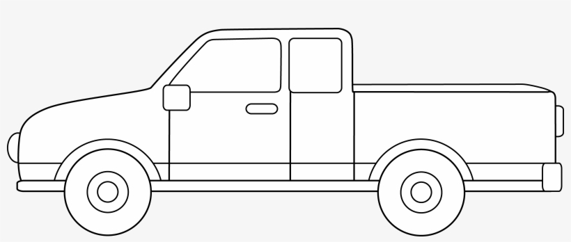 Pickup clipart black and white.