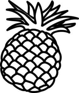 pineapple clipart black and white vector