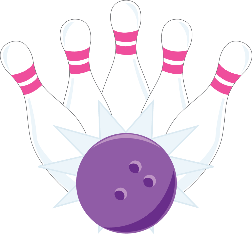 bowling clipart pink