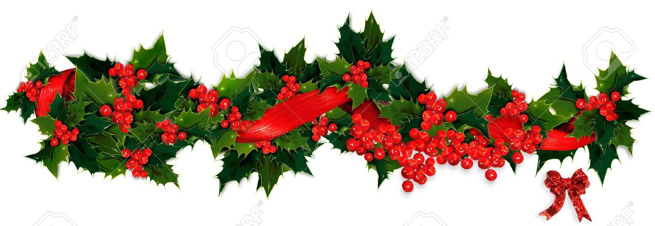 Poinsettia clipart holly berry garland.