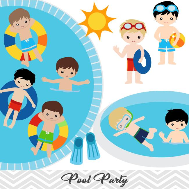 pool party clipart boy